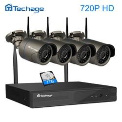 Techage plug and play 4ch 1080 P HD Беспроводной NVR комплект P2P 720 P Крытый Открытый ИК Ночное Видение безопасности IP камера WI-FI CCTV Системы