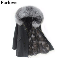 Furlove New 2016 Winter Jacket Women's Parkas Army Green Large Raccoon Color Fur Collar Hooded Coat Woman Outwear Top Quality