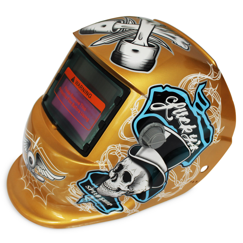 Solar Energy Automatic Changeable Light Electric Welding Protective Helmet Pirate Pattern Welder Lens Grinding Electric Weld Cap