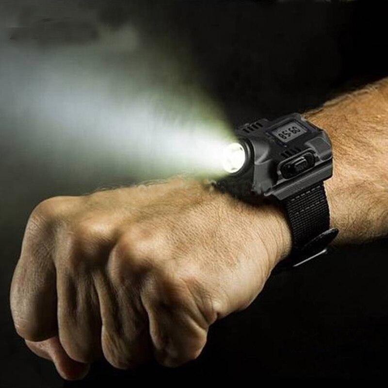 Impermeable LED pantalla táctica recargable reloj de pulsera linterna Multi herramientas iluminación exterior para acampar al aire libre caza
