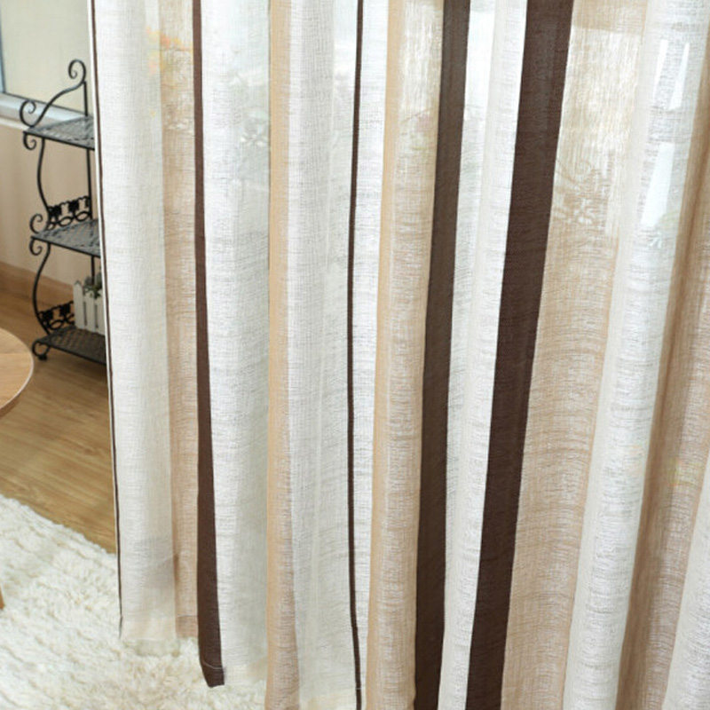 Coffee Striped Pattern fringe curtain Yarn curtains linen brown ...