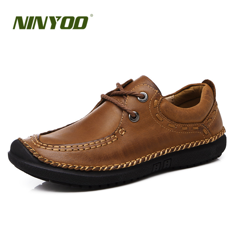 NINYOO High Quality Men Shoes New Genuine Leather Casual Shoes Lace Up Fashion Flats Shoes Summer Breathable Leisure Shoes Brand