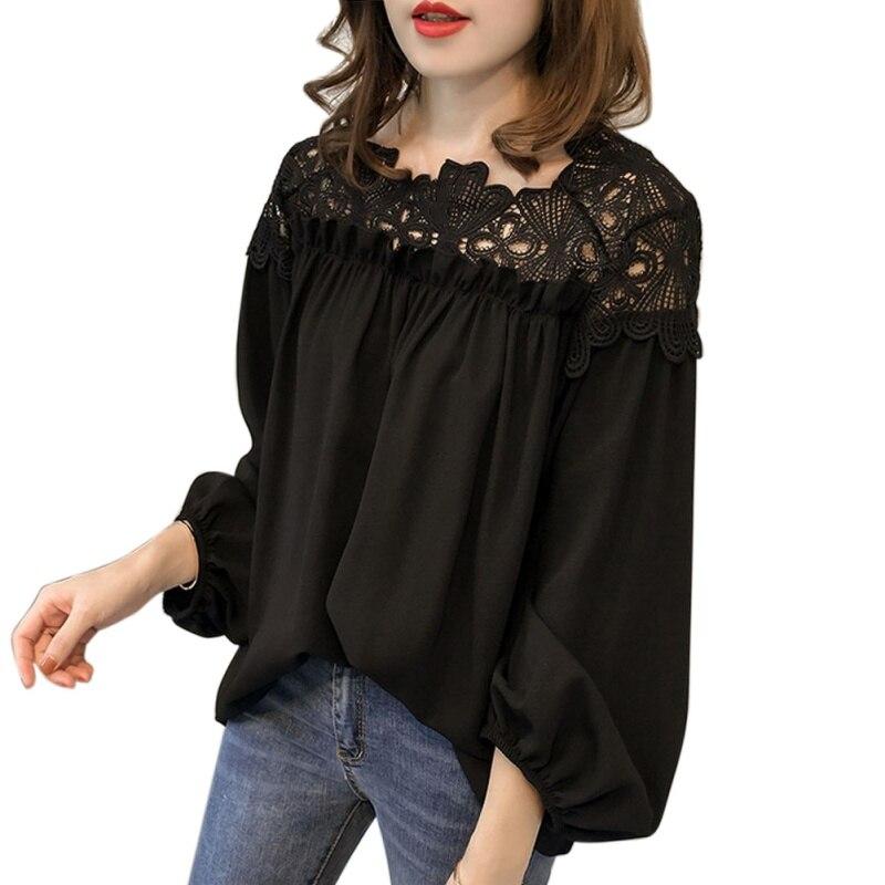 0e20930d Nuevo 2018 blusa de las mujeres Chiffon sólido hueco casta linterna Blusas  manga de hombre tlife Tops Camisas Blusas camisa W2