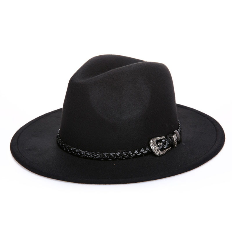 BINGYUANHAOXUAN Winter Autumn Fedora Hat for Men amp Women with Punk Belt amp Wide Brim Church Jazz Wool Fashion in Men 39 s Sun Hats from Apparel Accessories