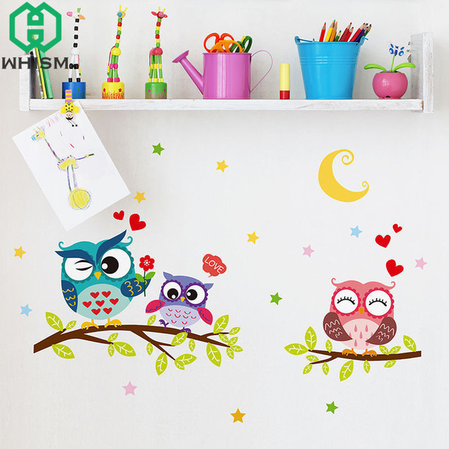 WHISM Night Moon Wall Stickers Owl Tree Branch Wall Decal DIY Removable  Wallpaper Kids Room Living