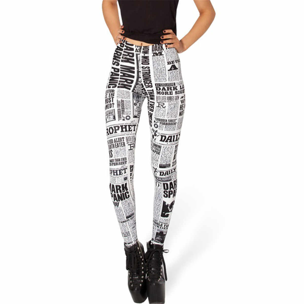 009add16c9e17 ... Skull Leggings Women Tattoo Pants Newspaper Fitness Workout 3D Print  Sportswear Sexy Women Pants New Leggings ...