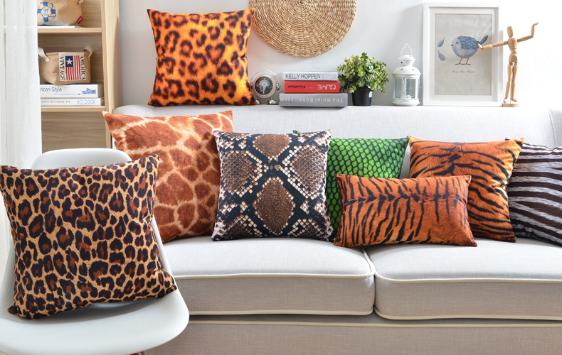 Superb Animals Tiger Leopard Snakeskin Pattern Cushion Covers Nordic Modern Pillow  Cover Sofa Seat Decorative Velvet Pillow