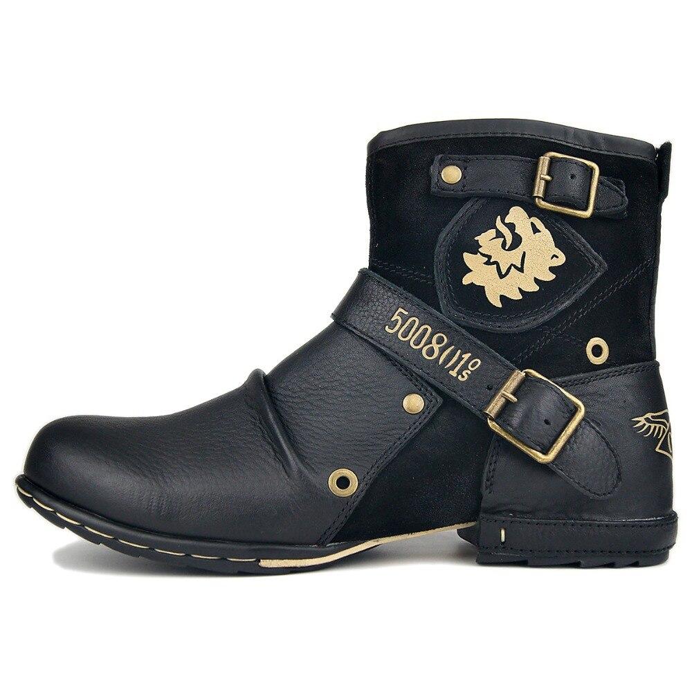 OTTO ZONE nouveau cuir véritable hommes bottines haute qualité respirant travail Cowboy bottes moto bottes hommes mode Western    1