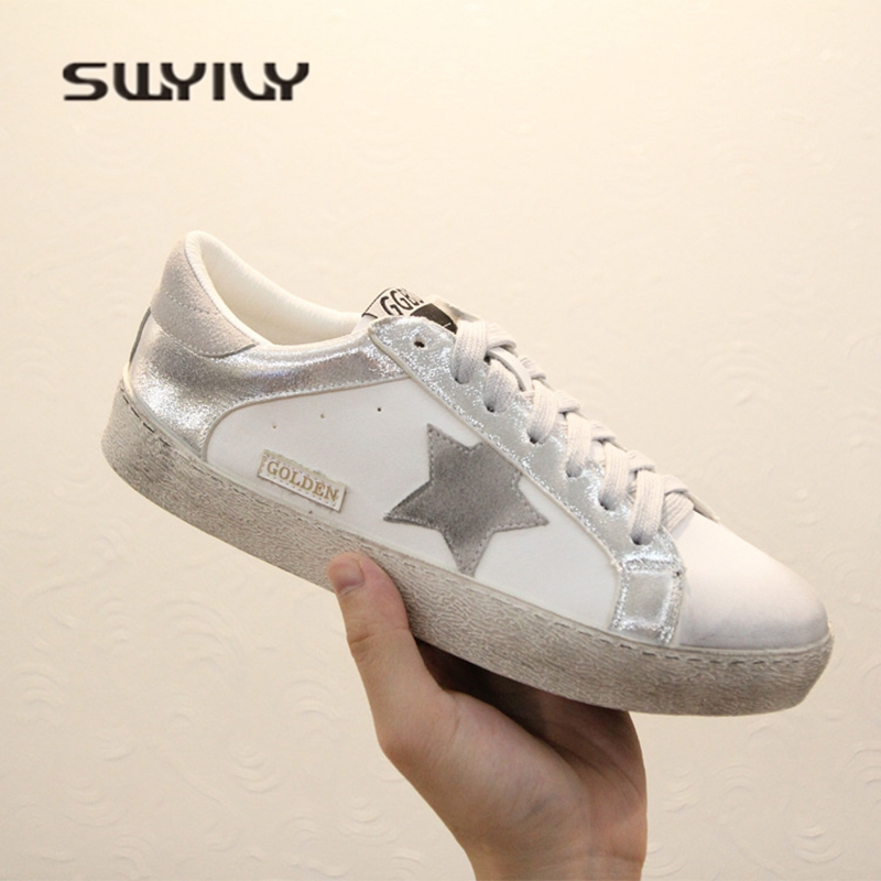 SWYIVY Woman Sneakers Dirty Shoes Spring 2018 Hot Retro Woman Sequins Casual Sneakers Female Canvas Shoes 40 Comfortable