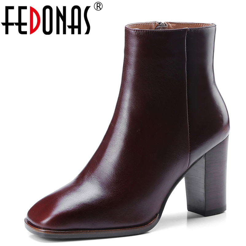 FEDONAS1New Arrival Women Ankle Boots Autumn Winter Warm Genuine Leather High Heels Shoes Woman Zipper Party Office Ladies BootsFEDONAS1New Arrival Women Ankle Boots Autumn Winter Warm Genuine Leather High Heels Shoes Woman Zipper Party Office Ladies Boots