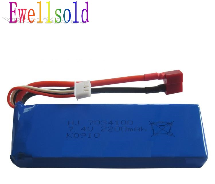 Ewellsold WLtoys <font><b>battery</b></font> <font><b>7.4V</b></font> <font><b>2200mAh</b></font> <font><b>Battery</b></font> for WLtoys K949 RC Climbing Short CourseWL K949 Car Spare Parts image
