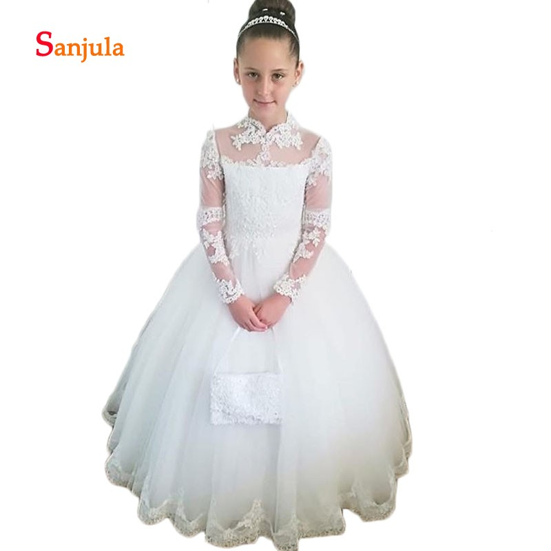 Ivory Tulle Ball Gown Flower Girls Dresses Sheer Long Sleeve Appliques First Communion Dresses Back Bow vestido flores D269