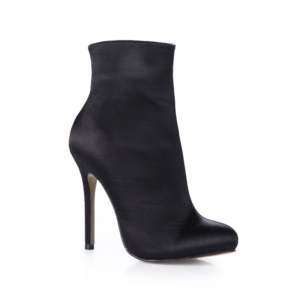ФОТО 2016 Winter Black Satin Sexy Party Shoes Women Stiletto High Heels Simple Work Ladies Mid-Calf Boots Zapatos Mujer 0640CBT-c2