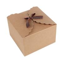 5pcs Pack 22 22 15cm High Quality Large Square Gift Boxes Simple Ribbon Bow Kraft Paper