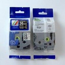 10 шт./лот brother p touch термолента TZe, TZ tze-365 tz365 tze365 tz-365 чёрный с белыми пятнами 36 мм принтер этикеток