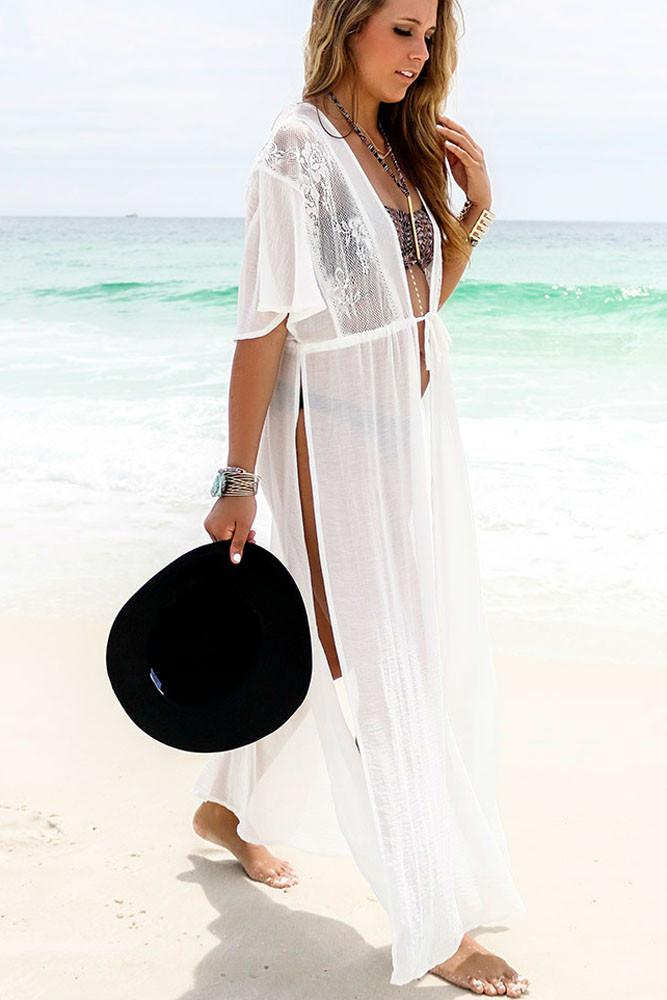 Trendy White Swimwear Bikini Beach Cover Up Pareo Beach Kaftan Sexy Bathing Suit Cover Ups Swimsuit Coverups Beach Wear Women 4