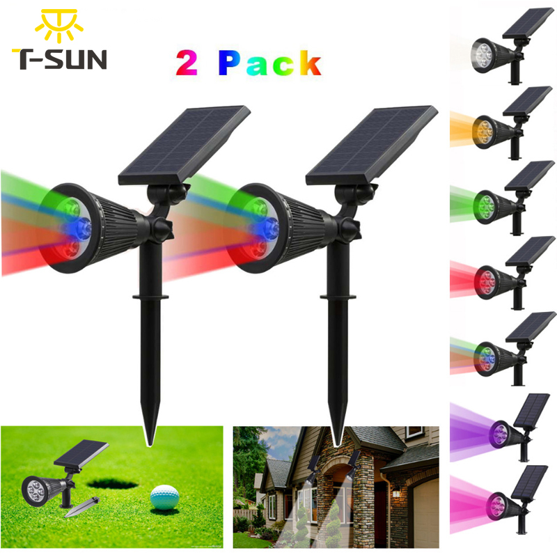 t sunrise 2 pack 2 iluminacao holofotes movido a energia solar ao ar livre em 1