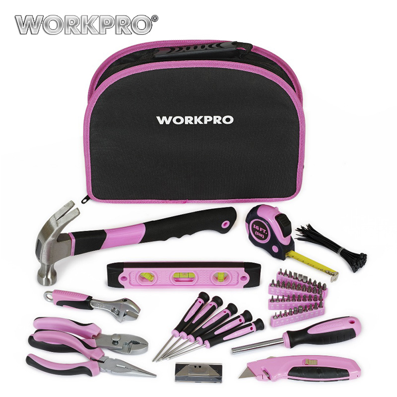 WORKPRO 103PC Pink Tool Set Ladies Hand Tool Set with Easy Carrying Pouch Home Tool Set