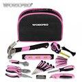 WORKPRO 103 Unid Rosa herramienta casa Kits de herramienta de mano herramientas martillos alicates, sierras, destornilladores llaves cintas