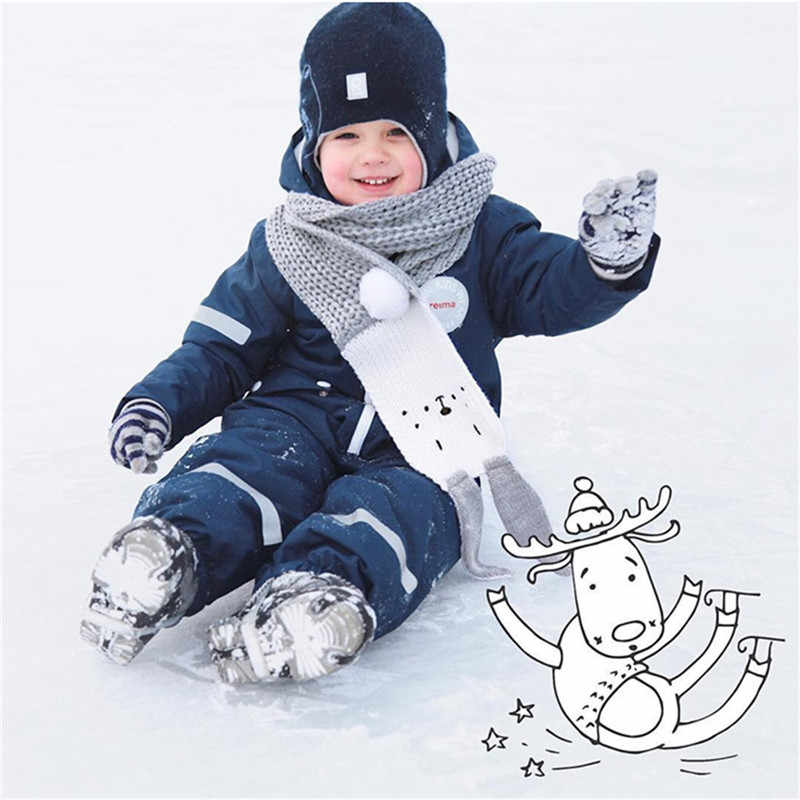 Baby Winter Warm  Autumn Winter Baby Scarf 2018 Boy Girls Knitted Scarf Cartoon Kids Neck Warmer Scarf Children Scarves