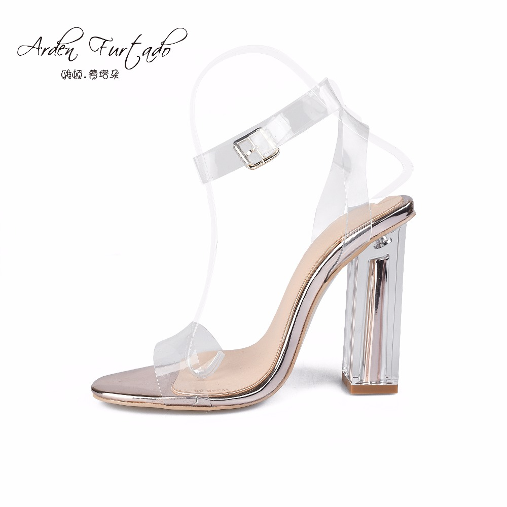 new 2017 summer shoes for woman clear sandals high heels women PVC pumps ankle strap sexy party shoes 10cm hoof heels Stiletto big size 32 43 fashion party shoes woman sexy high heels platform summer pumps ankle strap sandals women shoes