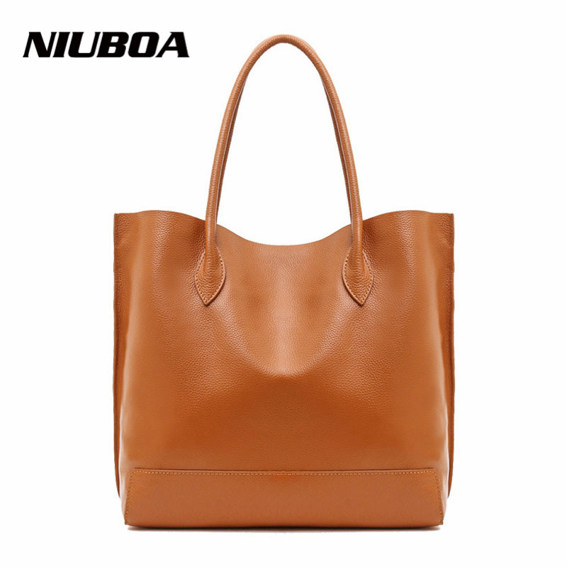 Women Handbag Genuine Leather Single Shoulder Bag Simple Design Cowhide Lady Casual Shopping Composite Bag Bucket Tote Bolsos 2017 esufeir brand genuine leather women handbag fashion shoulder bag solid cowhide composite bag large capacity casual tote bag