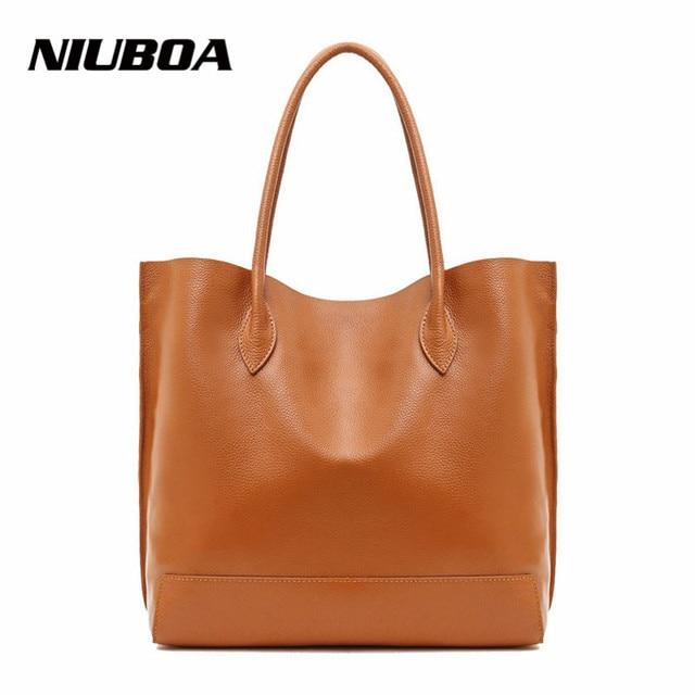 c01b9782aa Women Handbag Genuine Leather Single Shoulder Bag Simple Design Cowhide  Lady Casual Shopping Composite Bag Bucket