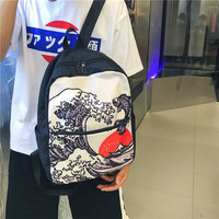 Schoolgirl female student Korean version Campus Harajuku ulzzang personality backpack Laptop canvas backpack
