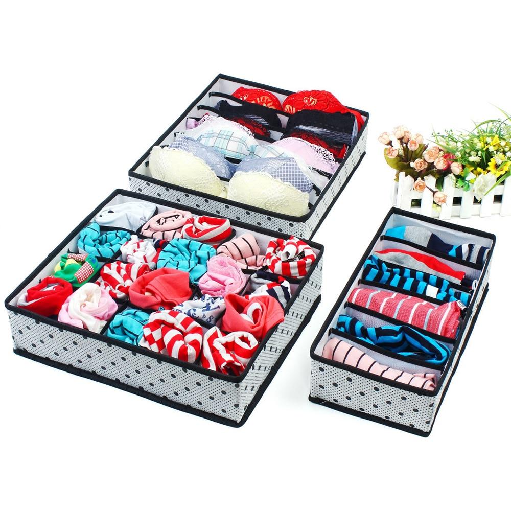 3pcs 6/7/20Grids Underwear Storage Box Organizer Foldable Drawer Divider Bras Socks Washable Container Wardrobe Closet Set