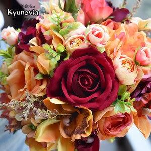 Image 4 - Kyunovia Silk Wedding Flower Dahlia Bouquet Wild Flowers Bridesmaid Bouquets Roses Orange Accents 3PCs SET Bridal Bouquet FE82