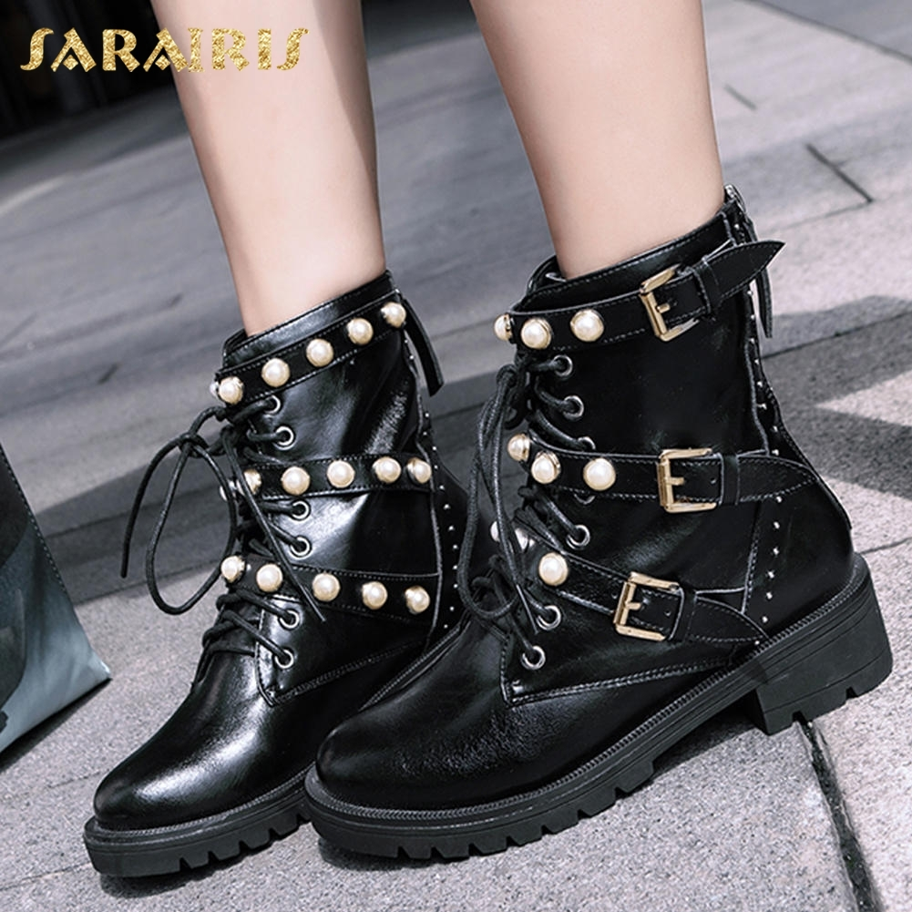 SARAIRIS Genuine Leather Leisure Boots Pearl Woman Shoes Casual 3 Buckles Boots Shoes Woman Female BootSARAIRIS Genuine Leather Leisure Boots Pearl Woman Shoes Casual 3 Buckles Boots Shoes Woman Female Boot