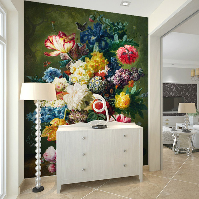 Beau Fashion Interior Flower Design Oil Painting 3D Mural Wallpaper Hotel Lobby Living  Room Entrance Corridor Decoration