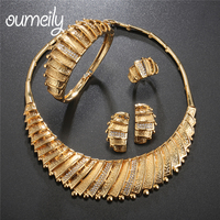 OUMEILY Jewelry Sets Gold Color Women Wedding Jewellery Set Fashion Bridal Jewelry Sets Nigerian African Costume