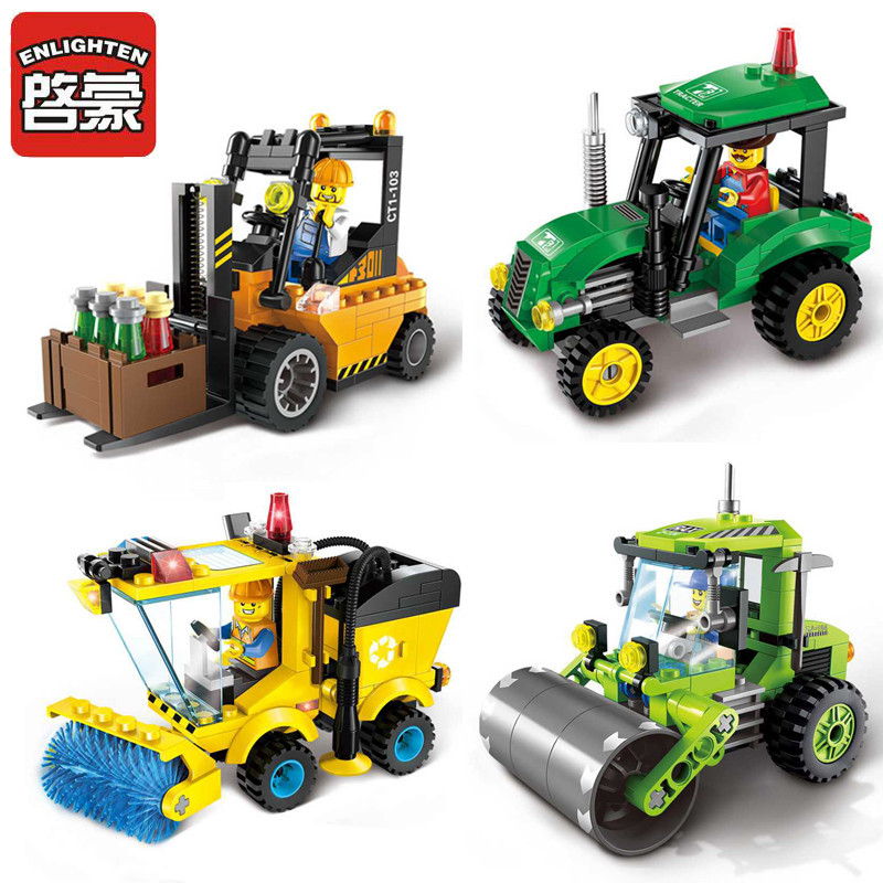 ENLIGHTEN City Forklift Sweeper Car Truck Construction LegoINGLY Creator Building Blocks Sets Playmobil Bricks Toys for Children