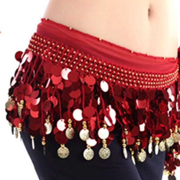 *New Fashion Multi Color Chiffon Belly Dance Skirt Hip Wrap Scarf Coin Sequin Waistband Skirt Coins Bellydance Costume Belt H