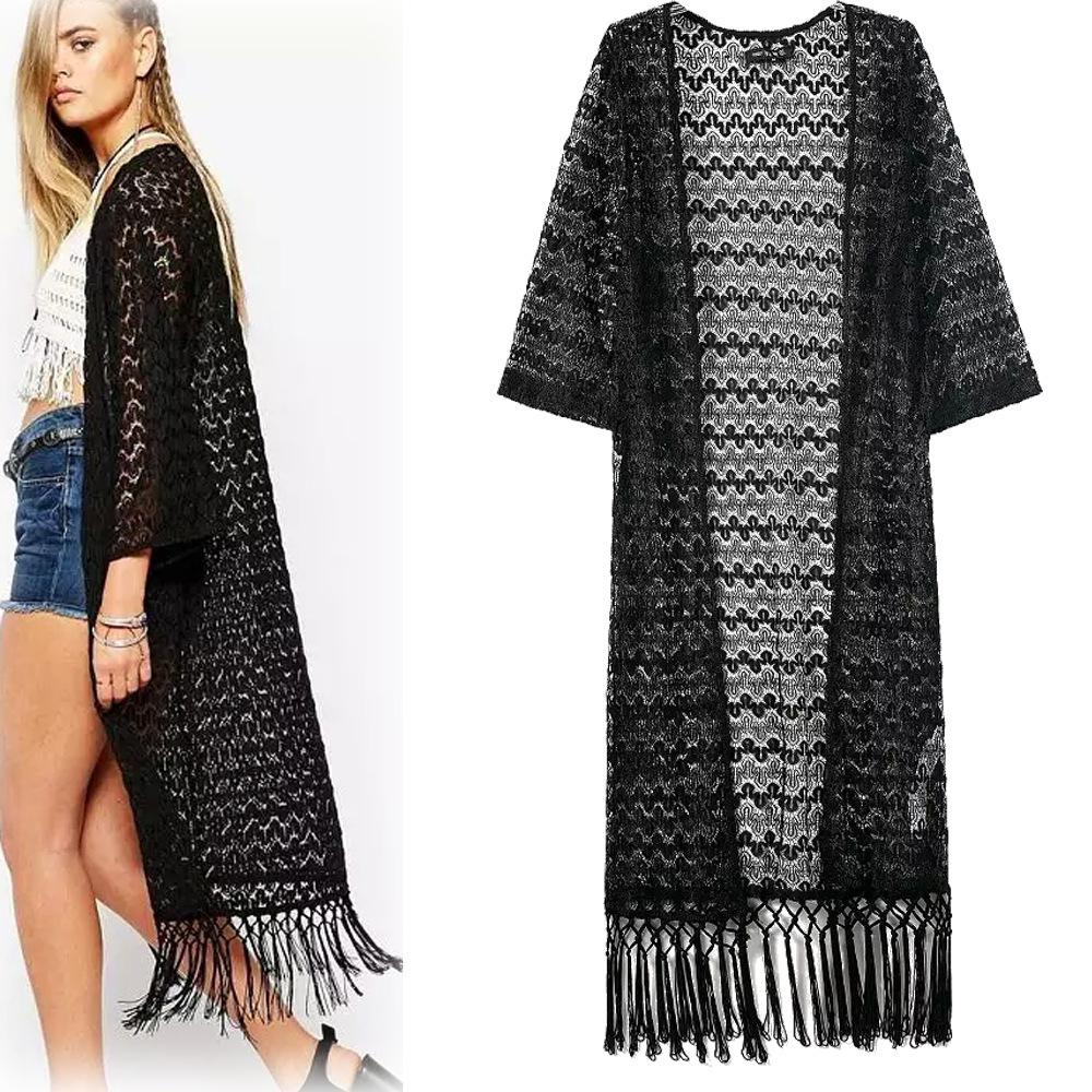 Online Shop Sexy Women Lace Long sleeve Crochet Black Kimono Lady ...