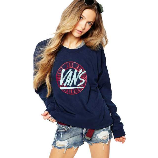 SWY60 Women's Letter Print Solid Long Sleeve O-Neck Casual Blue Hoodies Sweatershirt NTSMSS