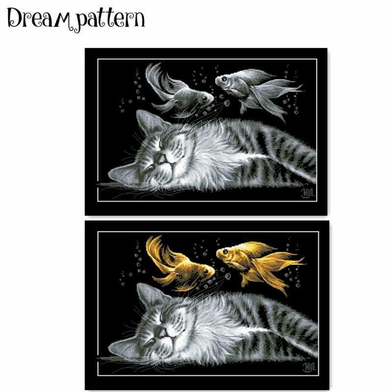 Zwarte kat dromen kruissteek pakket sets aida 18ct 14ct 11ct zwarte doek mensen kit borduurwerk DIY handgemaakte handwerken