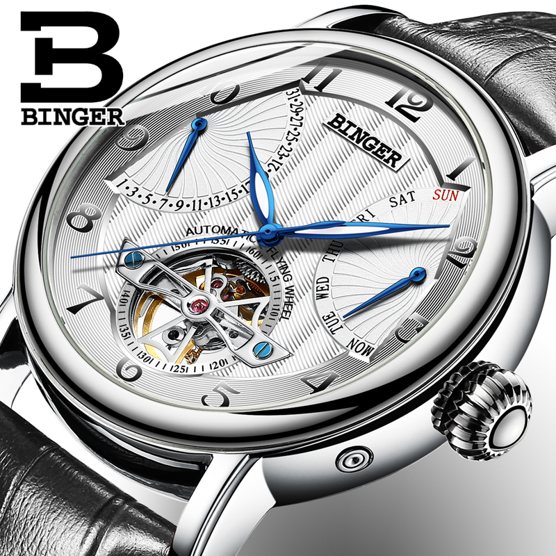 Switzerland Brand BINGER Watches Men Luxury Tourbillon Automatic Watch Sapphire Genuine Leather Waterproof Mechanical Wristwatch genuine switzerland binger brand men automatic mechanical luminous calendar waterproof sports chronograph military gold watch