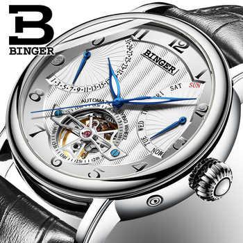 Switzerland Brand BINGER Watches Men Luxury Tourbillon Automatic Watch Sapphire Genuine Leather Waterproof Mechanical Wristwatch - DISCOUNT ITEM  40% OFF All Category