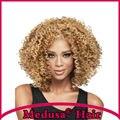 Medusa produtos para o cabelo: Sintético africano americano dianteira do laço perucas para as mulheres peruca de comprimento Médio curly Mix cor pastel SW0444B