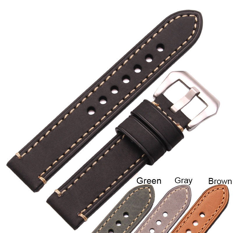 Genuine Leather Watch Band Strap 24mm 22mm 20mm Men Thick Watchbands Bracelet Belt With Metal Buckle Accessories For Panerai genuine leather watchband for longines men leather watch strap for women metal buckle watch band belt retro watch clock band