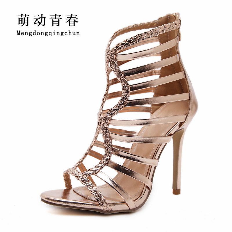 Women Pumps New Gladiator Thin Heels Shoes Women Peep Toe Casual High Heel Pumps Fashion Women Casual Zip Rome Pumps fashion women pumps gladiator peep toe women high heels shoes women casual thin heel buckle strap summer high heel pumps
