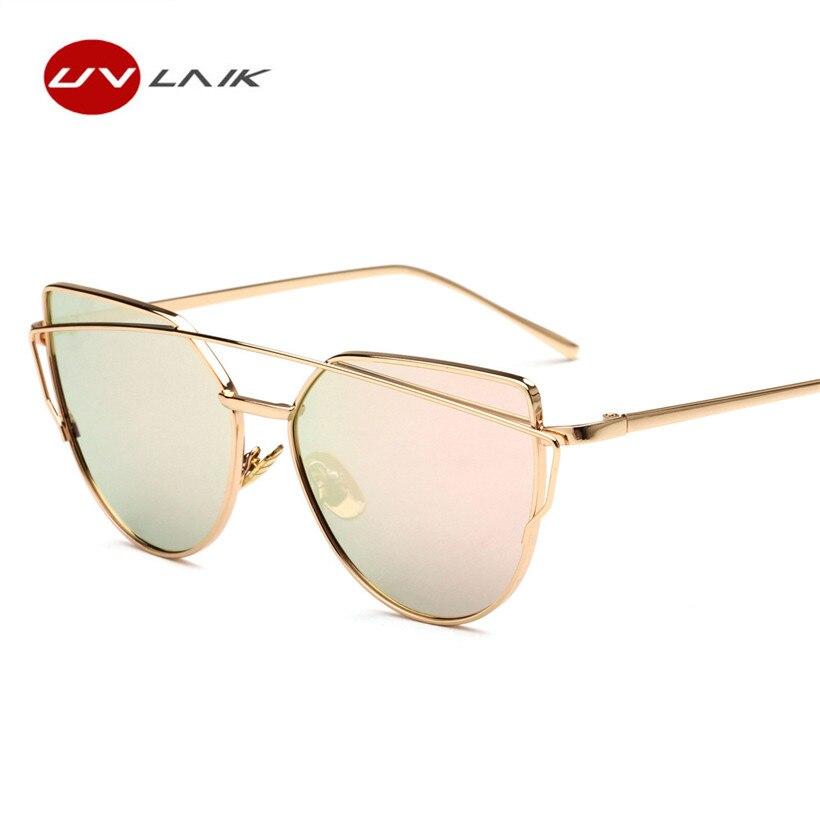 UVLAIK Classic Women Cat Eye Sunglasses Fashion Flat Panel Twin-Beams Frame Sunglass Female Mirror Rose Gold Lens Sun Glasses