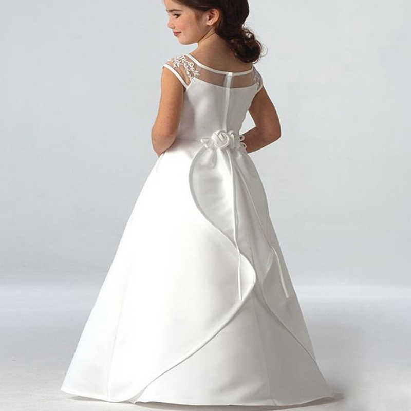 ホット販売エレガントなサテンフラワーガールドレスアップリケロングプリンセスパーティーページェント初聖体ドレス