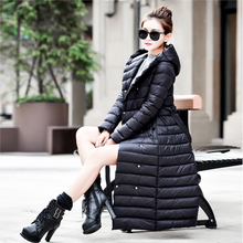 2015 New Winter Jacket Women Ultra Long Down Coat Down Parka Women Hooded Warm Outerwear Coat Ultralight Free Shipping