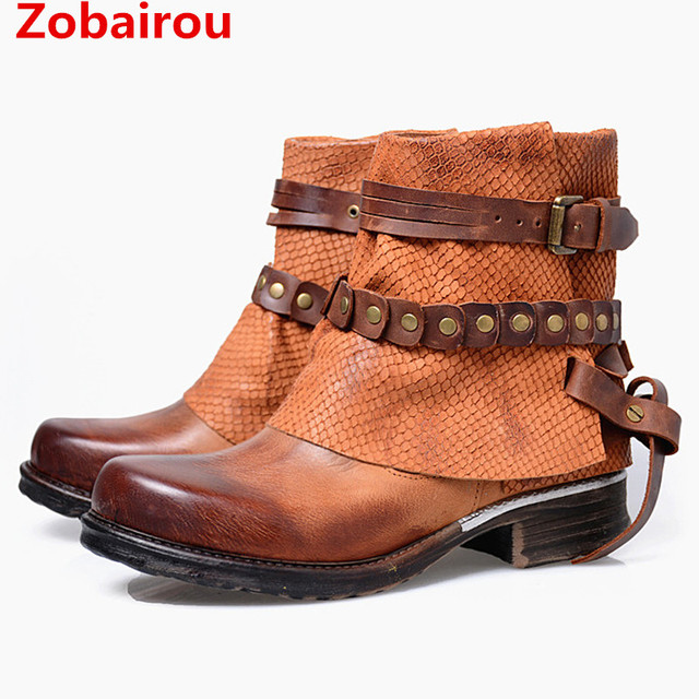 d11605894ae Zobairou Celebrity Schoenen Lederen Laarzen Motorlaarzen Vrouwen Flats Cowboy  Laarzen Paardrijden Schoenen Vrouw