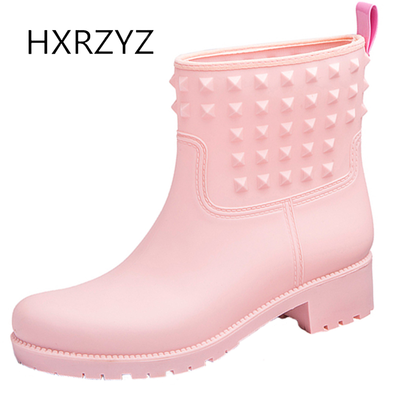 HXRZYZ women black rain boots female rubber ankle boots  spring and autumn new fashion PVC slip-resistant waterproof women shoes women ankle boots 2016 round toe autumn shoes booties lace up black and white ladies short 2017 flat fashion female new chinese