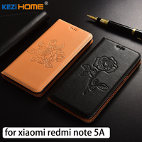 For Xiaomi Redmi Note 5A Case Flip Embossed Genuine Leather Soft TPU Back Cover For Xiaomi