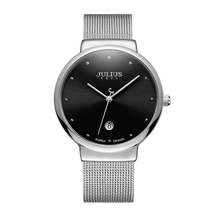 цена Hot Ultrathin Men Steel Wrist Watch Men's Business Analog Calendar Fashion Casual Japan Quartz Watches Famous Brand Julius New онлайн в 2017 году